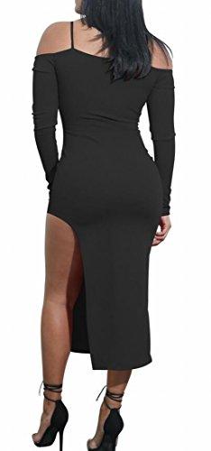 Bltr-femmes, Plus La Taille V-cou Épaule Froide Manches Longues Robe Noire Moulante