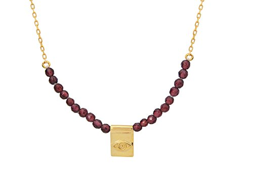 FRONAY 14k Gold Plated Silver Mini Evil Eye Plate Necklace with Simulated Garnet Beads from Fronay Collection