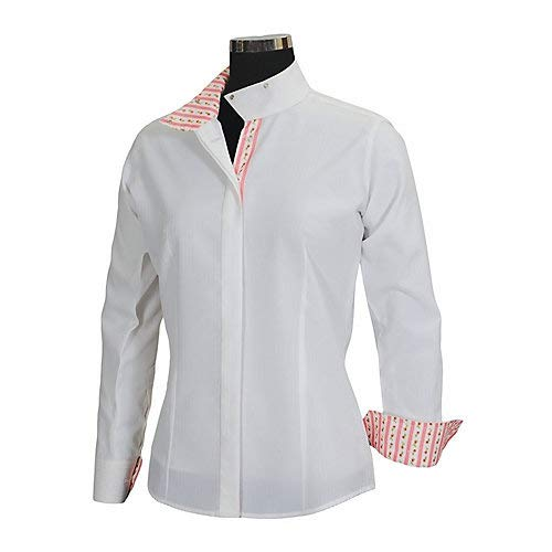 (Equine Couture Women's Isabel Coolmax Show Shirt, White/Argyle, 34)