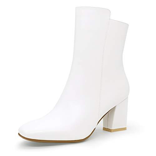 IDIFU Women's Ada Fashion Square Toe Short Gogo Ankle Boots Low Block Heel Side Zipper Booties - Half Size Larger (White Pu, 7 M US) from IDIFU
