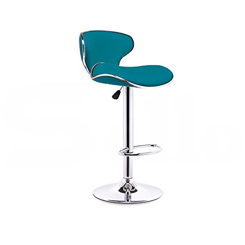 Modern Set of 2 Leather Adjustable Bar Stools Home Height Teal (Tractor Seat Chair Purple)