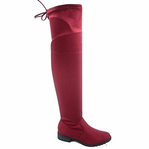 Per Sempre Collegamento Jalen-h4 Moda Donna Coscia Ginocchio Alto Tacco Basso Stivali Da Equitazione Scarpe Vino
