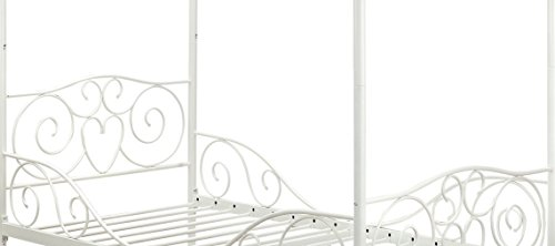31bT%2B4N2h9L - DHP Canopy Bed with Sturdy Bed Frame, Metal, Twin Size - White
