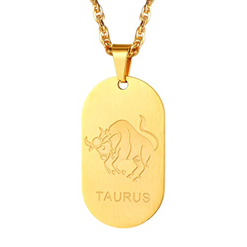 PROSTEEL Gold Dogtag Necklace Zodiac Star Sign Constellation Horoscope Celestial Astrology Taurus Pendant Chain Men Women Birthday Gift