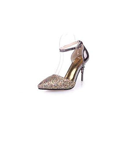 de Azul mujer pulgadas Zapatos tacón 3 Zapatos Verano Oro 2 Nuevo Moda 5 Zapatos de Sandalias para HwZzzq4
