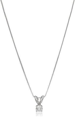 "14k White Gold Diamond Solitaire Pendant Necklace, 18"""