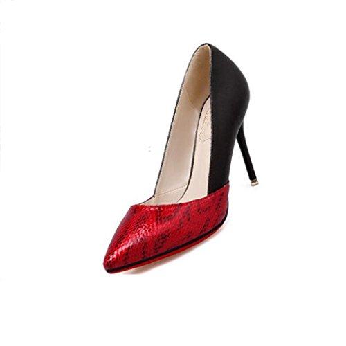 W&LM Sra Tacones altos Boca rasa Zapatos individuales Puntadas Imitación Piel de serpiente Zapato De acuerdo Muy delgado Tacones altos Red