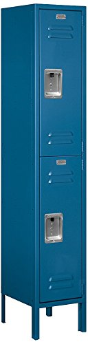 Salsbury Industries 62152BL-U Double Tier 12-Inch Wide 5-Feet High 12-Inch Deep Unassembled Standard Metal Locker, Blue by Salsbury Industries