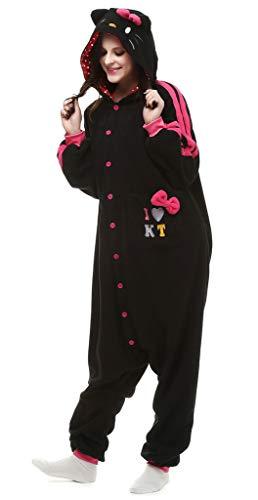 JinXi Halloween Adult Costume Hello Kitty Cat Onesie Pajamas Black M -