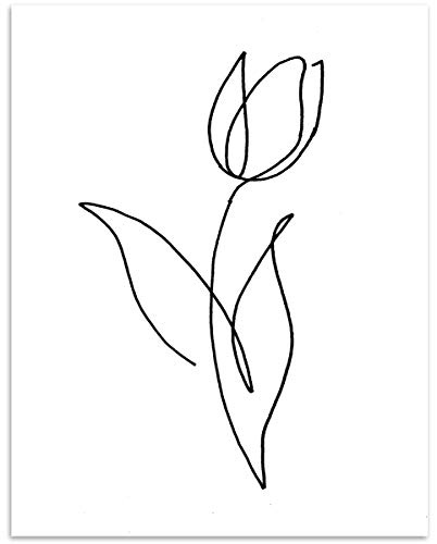 Tulip Flower Wall Art - 11x14 Unframed, Minimalist Black & White Decor Print - Makes a Great Gift Under $15 for Botanical, Floral Lovers from Westbrook Design Studio