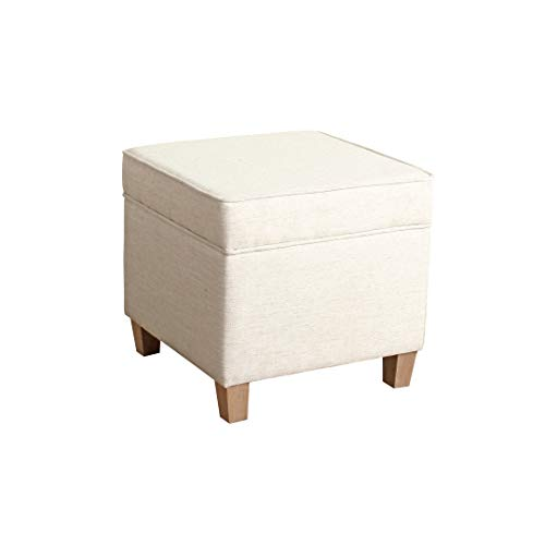 HomePop Square Storage Ottoman with Lift Off Lid, Cream