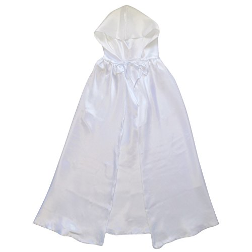 White Cloak Costumes (Superhero or Princess REVERSIBLE HOODED CAPE Kids Adult Halloween Costume Cloak (XS/S (30 Inches), Snow Angel White & White))