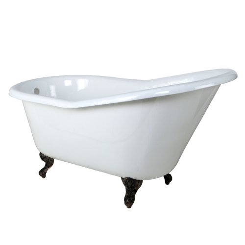 (Kingston Brass Aqua Eden VCTND6030NT5 Cast Iron Slipper Clawfoot Bathtub with Oil Rubbed Bronze Feet without Faucet Drillings, 60-Inch,  White)