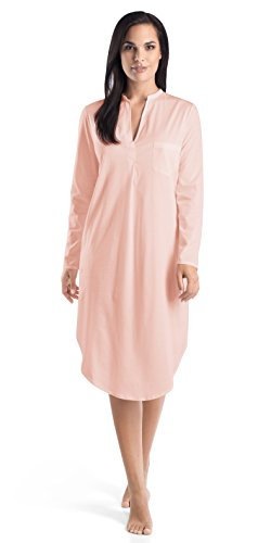 Hanro Women's Cotton Deluxe Long Sleeve Button Front Gown, Tender Rose, Medium by HANRO