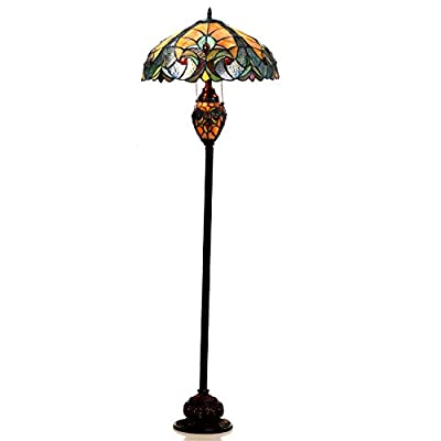 "Chloe Lighting CH18780VA18-DF3 Liaison Tiffany-Style Victorian 3-Light Double Lit Floor Lamp with 18"" Shade"