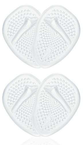 Metatarsal Pads | Metatarsal Pads for Women | Ball of Foot Cushions (2 Pairs Foot Pads) All Day Pain Relief and Comfort One Size Fits Shoe Inserts for Women (Clear)