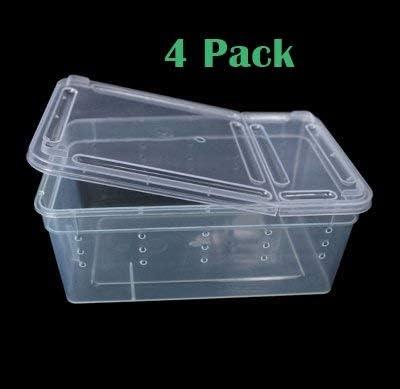 4 Pack Reptile Snake Lizard Tarantula Breeding Box Small Case Feeding Hatching Container 7.48 x 4.92 x 2.95 Inch