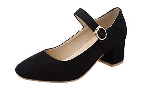 Couleur Chaussures Légeres Gmbdb011616 Noir Carré Unie Boucle Agoolar Femme qwnOvAO7