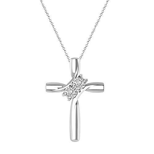 (Eternal Bliss 0.10 cttw Round Diamond Ladies's Cross Pendant with 18