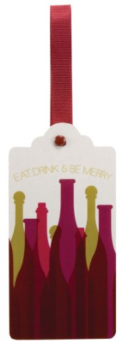 The Gift Wrap Company 3 Count Bottle Neck Ribbon Tags, Merry Maker