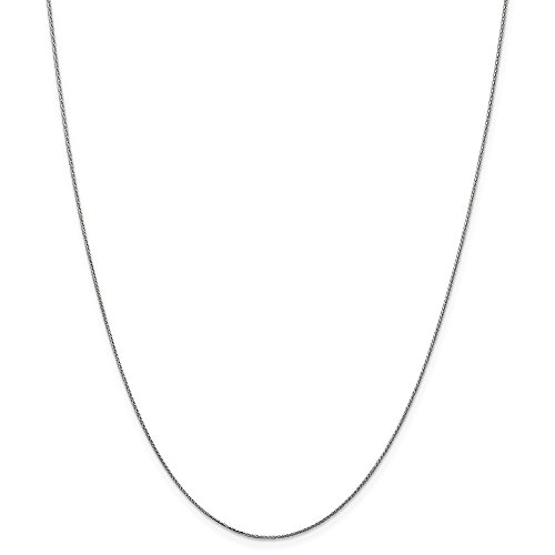 14k Gold Diamond-Cut Wheat Chain Necklace with Spring Ring (0.5mm) - White-Gold, 16 in