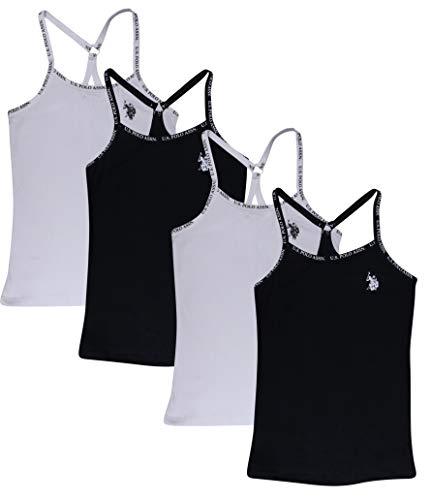 U.S. Polo Assn. Girls' Racerback Camisole Undershirt (4 Pack), Black, Size Large'