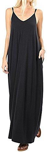 LunaJany Women's V Neck Bohemia Maxi Dress with Pocket