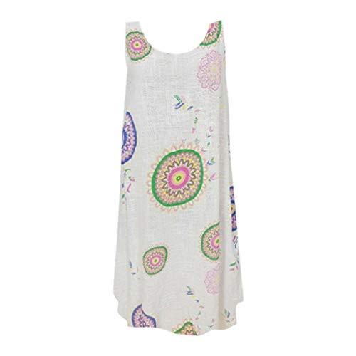 Women's Sleeveless Dress, Casual Swing T-Shirt Loose Dress Vintage Bohemia Pattern Summer Mini Dress Holiday Beach Dress White