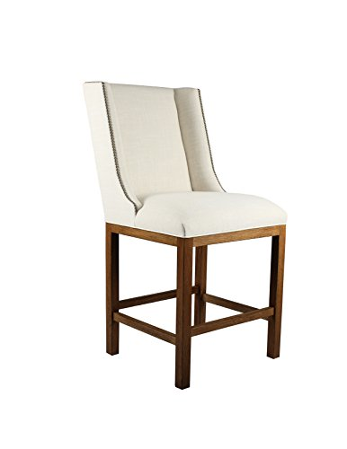 South Cone Home Linen Fabric Cognac Finish Bailey Counter Stool with Nail Head, 26