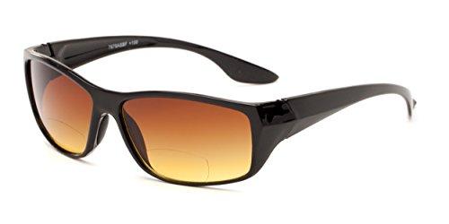 Readers.com The Utah Driving Bifocal Sun Reader +3.00 Black with Amber Bifocal Driving Reading Sunglasses Square Reading - Amber Sunglasses Vision