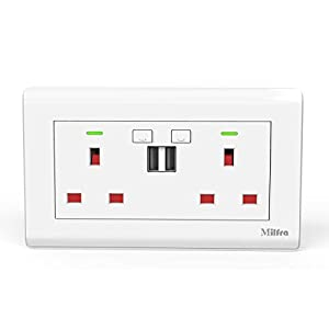 Alexa Double Socket Alexa Wall Socket 13A with 2 USB Charging Ports (Not Compatible with iOS Devices) Fast Charging…