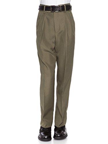 RGM 100% Dacron, Pleated Front, Boys Dress Slacks Olive 18 ()