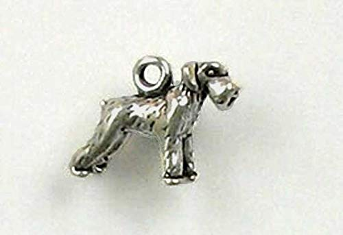 (Jewelry Making Supplies Sterling Silver 3 D Miniature Schnauzer Charm)