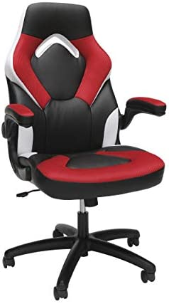 OFM ESS Collection Racing Style Bonded Leather Gaming Chair, in Red/White (ESS-3085-RED-WHT)
