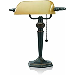 V-LIGHT Traditional Style CFL Banker's Desk Lamp with Amber Glass Shade (CAVS91045BRZ)