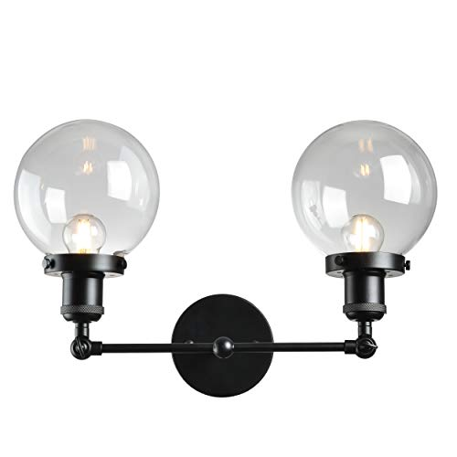 2-Lights Adjustable Black Industrial Vanity Wall Sconce Lighting Fixture Lamp with Glass Globe Shades