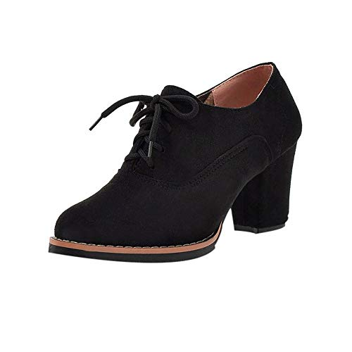 - GIFC Retro Women Solid Lace-Up High Thick Square Flock Ankle Boots Round Toe Fashion Ladies Shoes Black