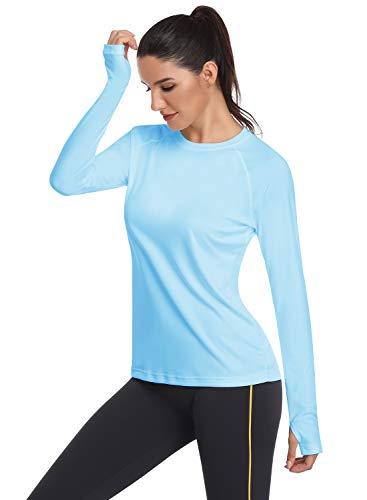 HISKYWIN Women's UPF 50+ Sun Protection Long Sleeve Outdoor T-Shirt Athletic Top Rashguards Blue-XL ()