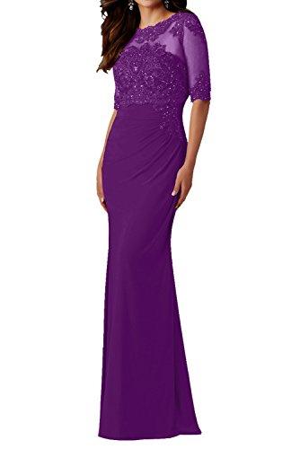Abendkleid Violett Ballkleider Festlich mit Spitze Elegant Charmant Chiffon mit Langarm Weinrot Damen Damen Lang TwxqCg