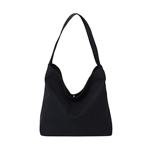 Kinue Fashion Tote Bag High Capacity Canvas Shoulder Bag Light Commuter Computer File Shopping Travel Handbag Black