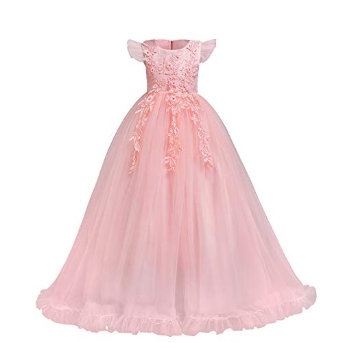 Big Little Girl Princess Embroidery Flower Lace Long A Line Pageant Dress Kids Floor Length Prom First Holy Communion Bowknot Dress Puffy Tulle Maxi Ball Gown for Wedding Party Birthday -
