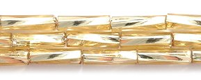 Preciosa Ornela Czech Twisted Bugle Glass Bead No.3, 2 by 7mm, Silver Lined, Light Gold