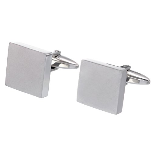 Classic Square Cufflinks (Salutto Classic Square Stainless Steel Cufflinks for Men 1 Pair with Gift)