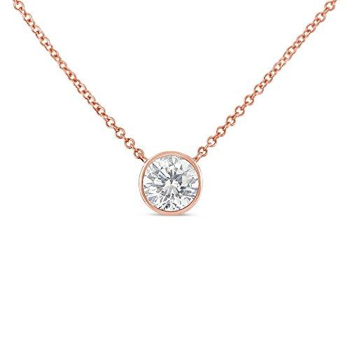 k Rose Gold Bezel-Set Diamond Solitaire Pendant Necklace (0.1 cttw, H-I Color, SI2-I1 Clarity) ()