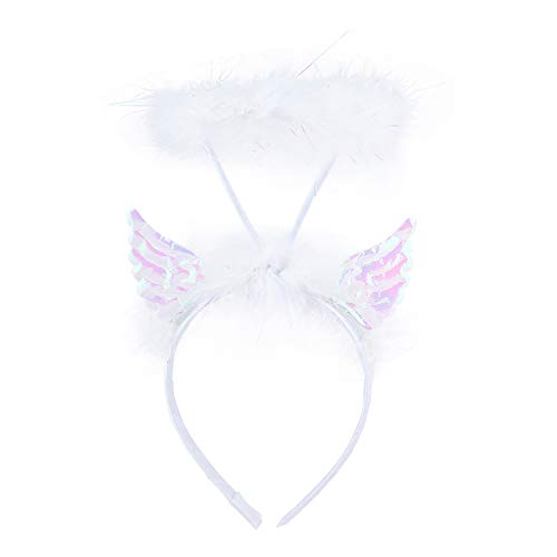 Lux Accessories White Angel Wings Furry Feather Halo Costume Fashion Headband]()