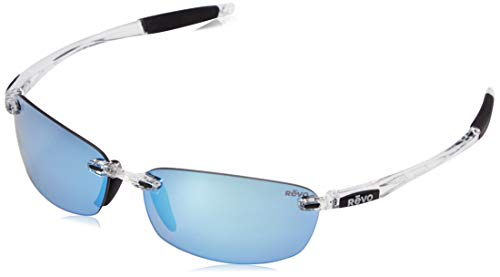 Revo part of the Serilium Collection, Descend E Sunglasses, Crystal Frame, 64mm Lenses, Blue Water
