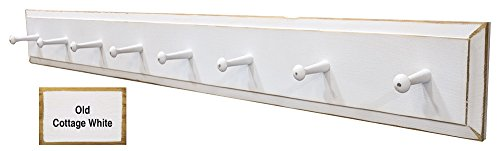Peg White Coat Rack - Sawdust City Wall Coat Rack with Pegs - 4' long (Old Cottage White)
