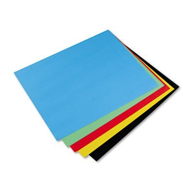 Pacon® Colored Four-Ply Poster Board, 28 x 22, Black/Green/Yellow/Red/Blue, 25/Carton