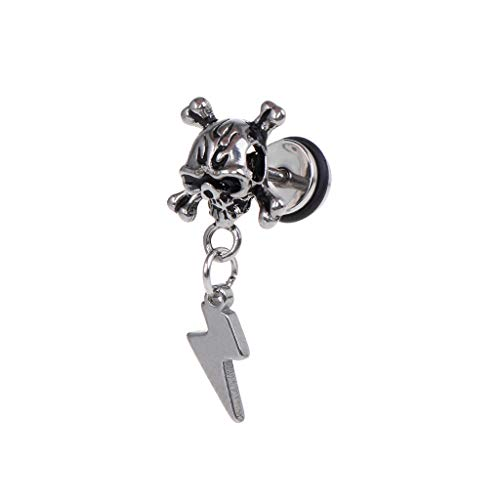 mgjyjy Fashion Earrings, 1pc Punk Earrings Skull Head Fashion Star Lightning Cross Pendant Women Men Jewelry Charms Brincos Dangle Chain Titanium Steel Ear Stud Decoration Hip Hop Gifts for Women by mgjyjy (Image #1)