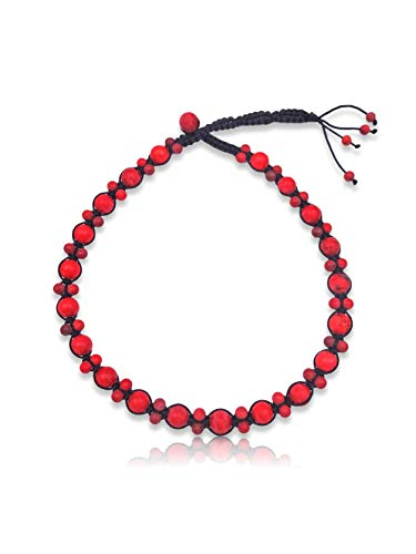 MGR MY GEMS ROCK! BjB Semi-Precious Stone Hand Beaded Braided Choker Style Fashion Necklace. (Matte Red Magnesite)